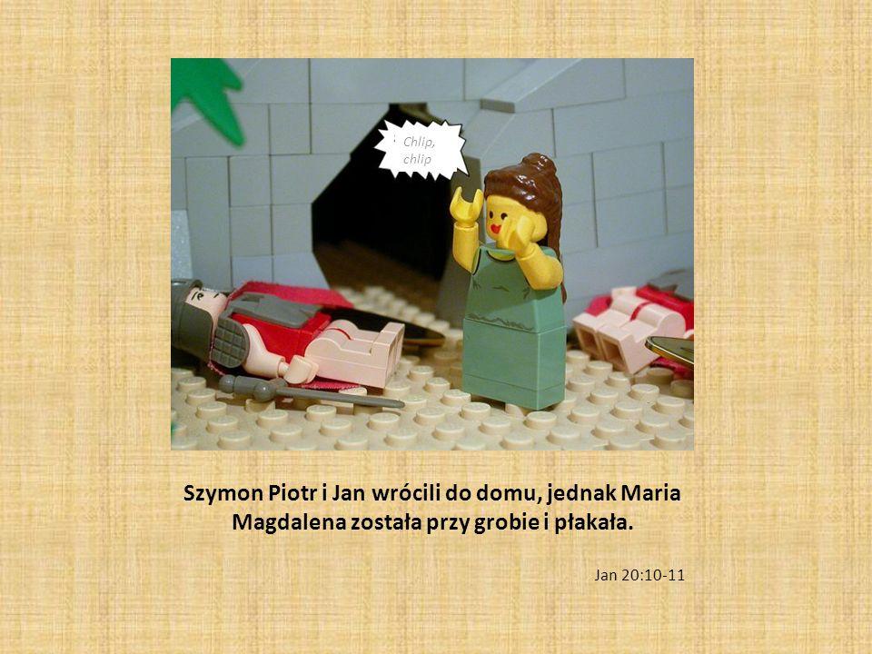 Chlip, chlip Szymon Piotr i Jan wrócili do domu, jednak Maria Magdalena została przy grobie i płakała.