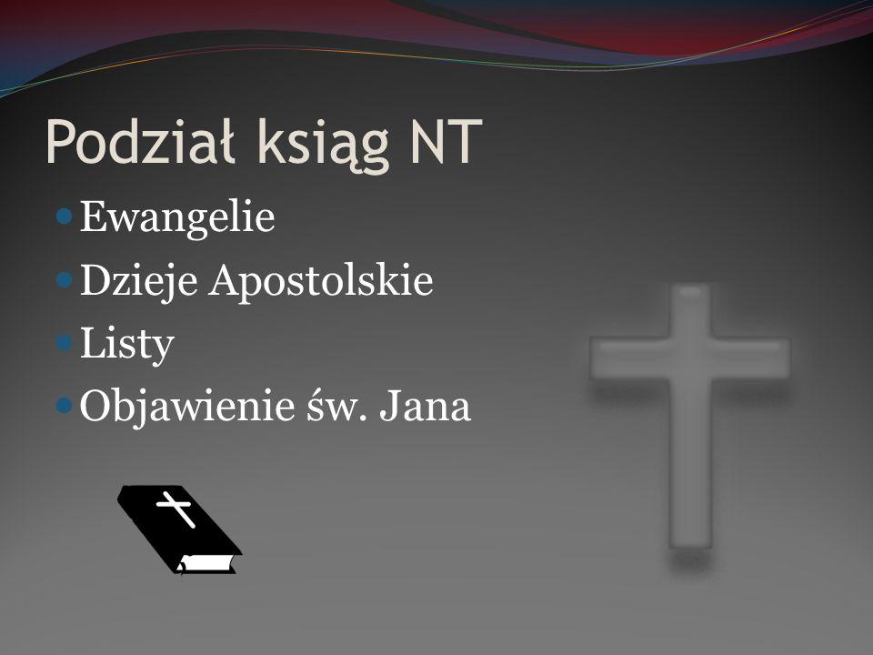 Podział ksiąg NT Ewangelie Dzieje Apostolskie Listy