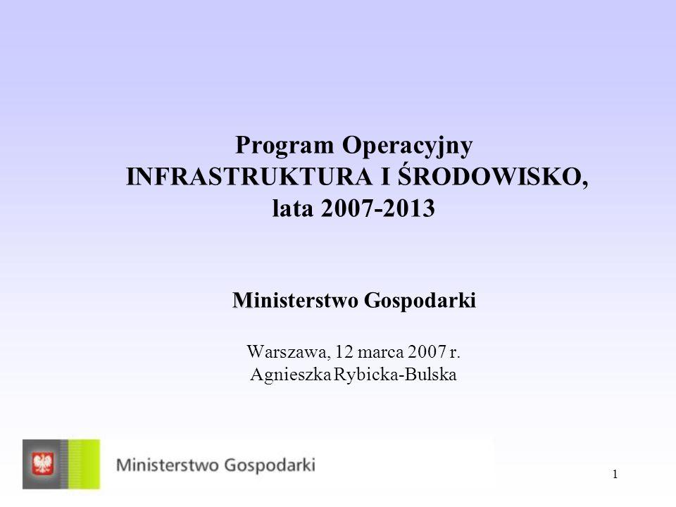 Program Operacyjny INFRASTRUKTURA I ŚRODOWISKO, lata 2007-2013 Ministerstwo Gospodarki Warszawa, 12 marca 2007 r.