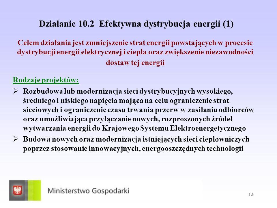 Działanie 10.2 Efektywna dystrybucja energii (1)