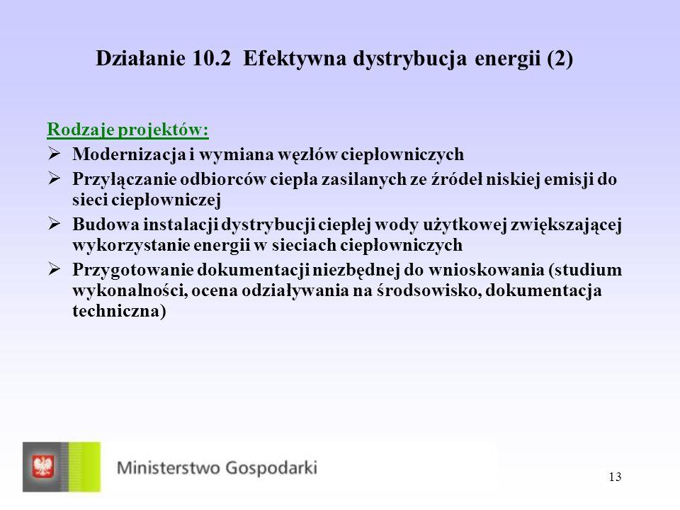 Działanie 10.2 Efektywna dystrybucja energii (2)