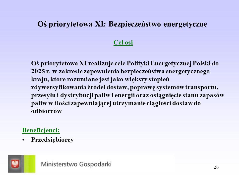 Oś priorytetowa XI: Bezpieczeństwo energetyczne