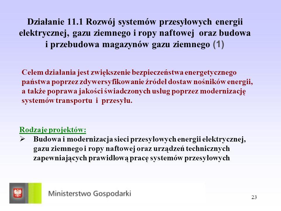 Działanie 11.1 Rozwój systemów przesyłowych energii elektrycznej, gazu ziemnego i ropy naftowej oraz budowa i przebudowa magazynów gazu ziemnego (1)