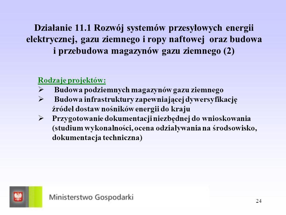 Działanie 11.1 Rozwój systemów przesyłowych energii elektrycznej, gazu ziemnego i ropy naftowej oraz budowa i przebudowa magazynów gazu ziemnego (2)