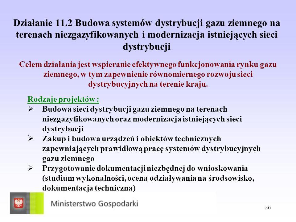 Działanie 11.2 Budowa systemów dystrybucji gazu ziemnego na terenach niezgazyfikowanych i modernizacja istniejących sieci dystrybucji