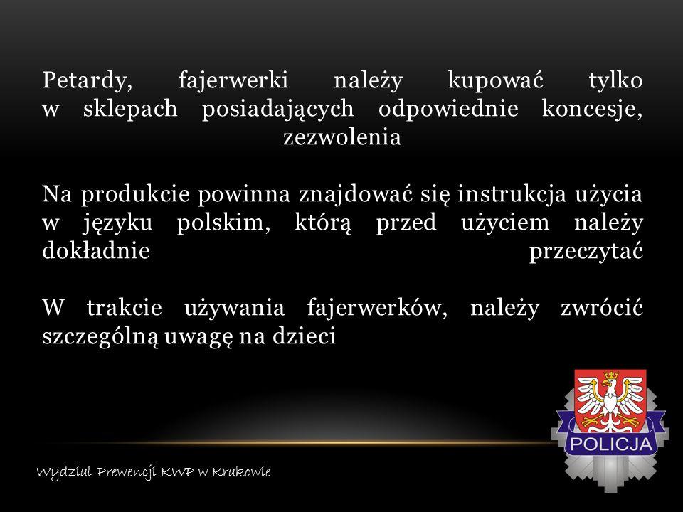 Petardy, fajerwerki należy kupować tylko w sklepach posiadających odpowiednie koncesje, zezwolenia Na produkcie powinna znajdować się instrukcja użycia w języku polskim, którą przed użyciem należy dokładnie przeczytać W trakcie używania fajerwerków, należy zwrócić szczególną uwagę na dzieci