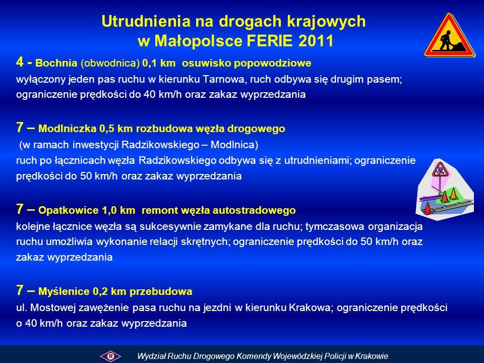 Utrudnienia na drogach krajowych w Małopolsce FERIE 2011