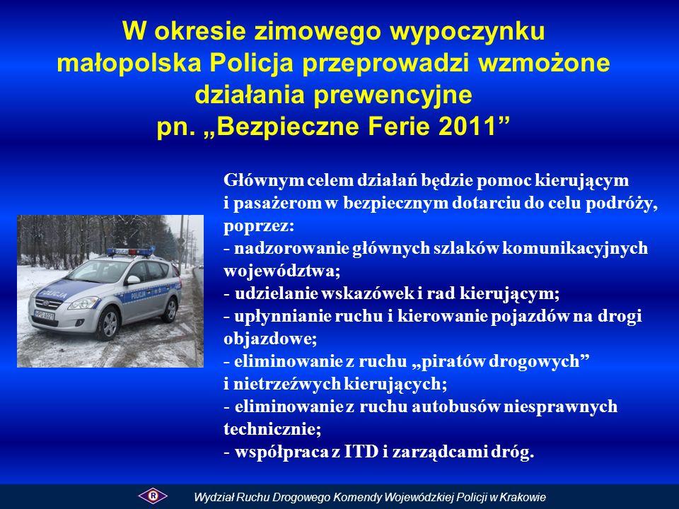 """W okresie zimowego wypoczynku małopolska Policja przeprowadzi wzmożone działania prewencyjne pn. """"Bezpieczne Ferie 2011"""