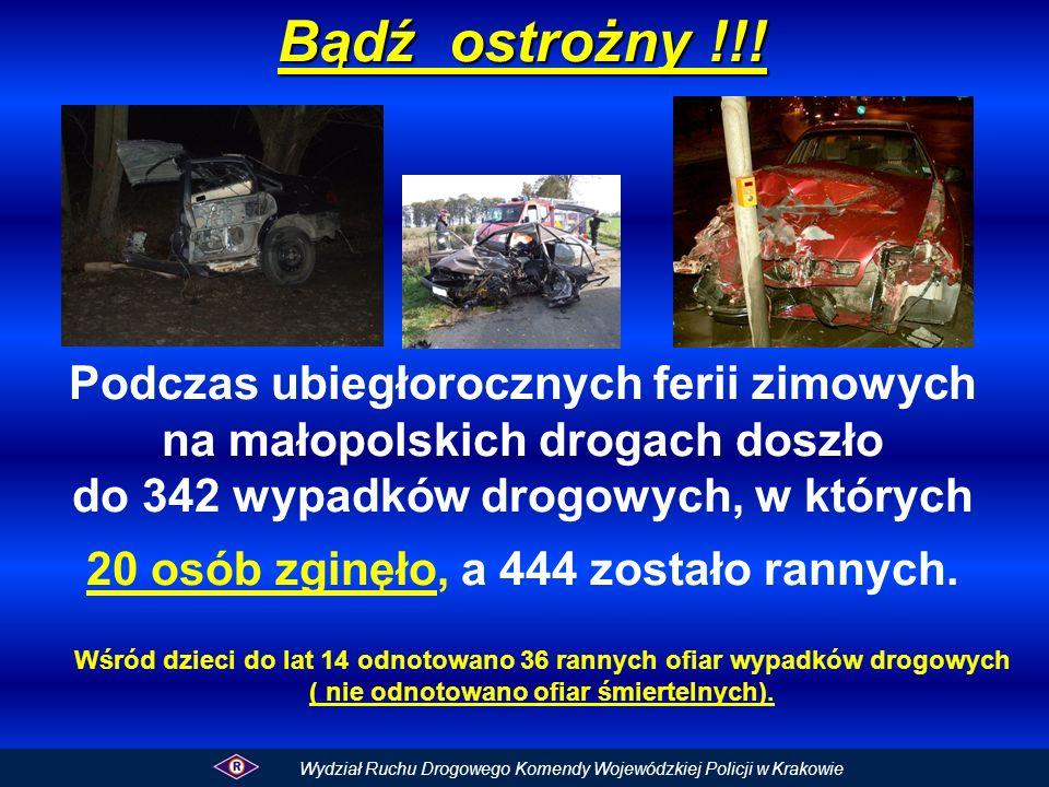 Bądź ostrożny !!! Podczas ubiegłorocznych ferii zimowych na małopolskich drogach doszło do 342 wypadków drogowych, w których 20 osób zginęło, a 444 zostało rannych.