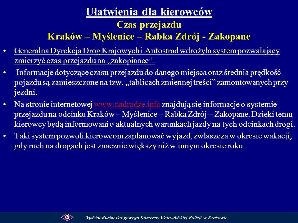 Ułatwienia dla kierowców Czas przejazdu Kraków – Myślenice – Rabka Zdrój - Zakopane