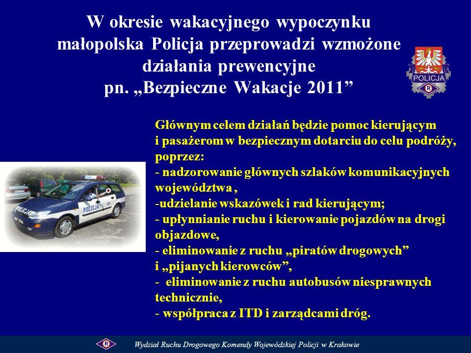 """W okresie wakacyjnego wypoczynku małopolska Policja przeprowadzi wzmożone działania prewencyjne pn. """"Bezpieczne Wakacje 2011"""