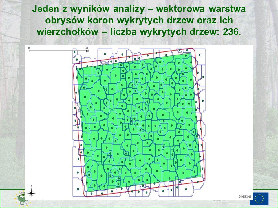 Jeden z wyników analizy – wektorowa warstwa obrysów koron wykrytych drzew oraz ich wierzchołków – liczba wykrytych drzew: 236.