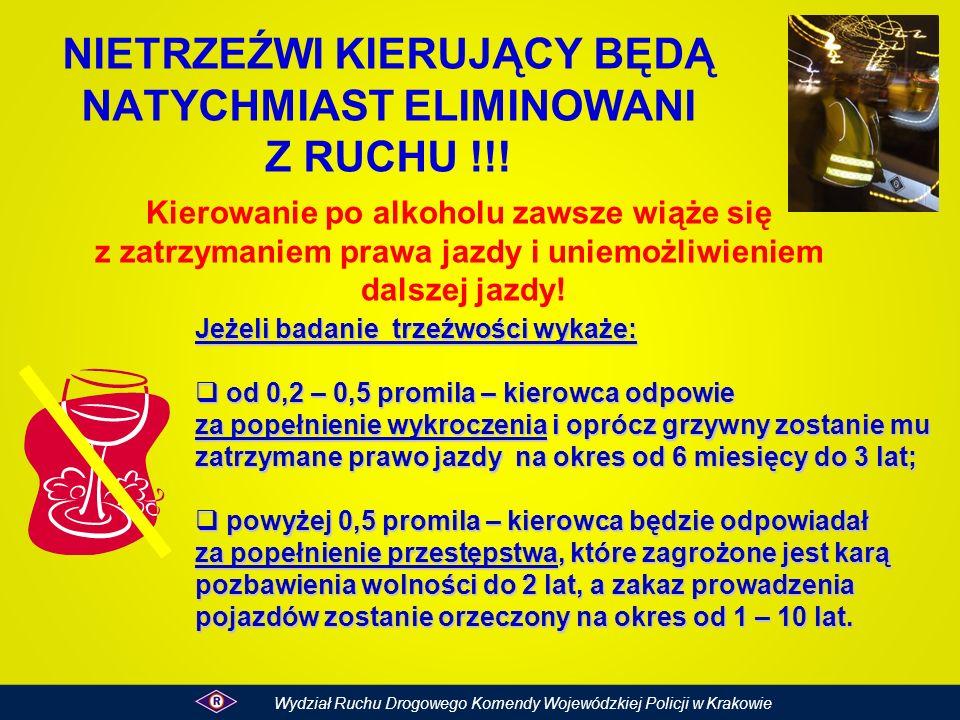 NIETRZEŹWI KIERUJĄCY BĘDĄ NATYCHMIAST ELIMINOWANI Z RUCHU !!!