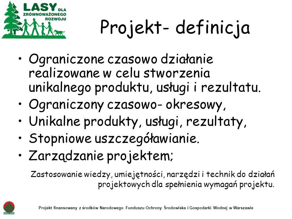 Projekt- definicja Ograniczone czasowo działanie realizowane w celu stworzenia unikalnego produktu, usługi i rezultatu.