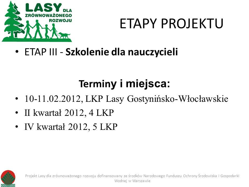 ETAPY PROJEKTU ETAP III - Szkolenie dla nauczycieli Terminy i miejsca: