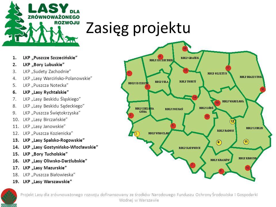 """Zasięg projektu LKP """"Puszcze Szczecińskie LKP """"Bory Lubuskie"""