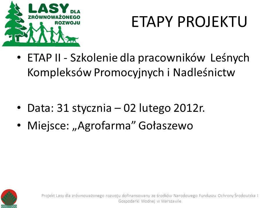 ETAPY PROJEKTUETAP II - Szkolenie dla pracowników Leśnych Kompleksów Promocyjnych i Nadleśnictw. Data: 31 stycznia – 02 lutego 2012r.