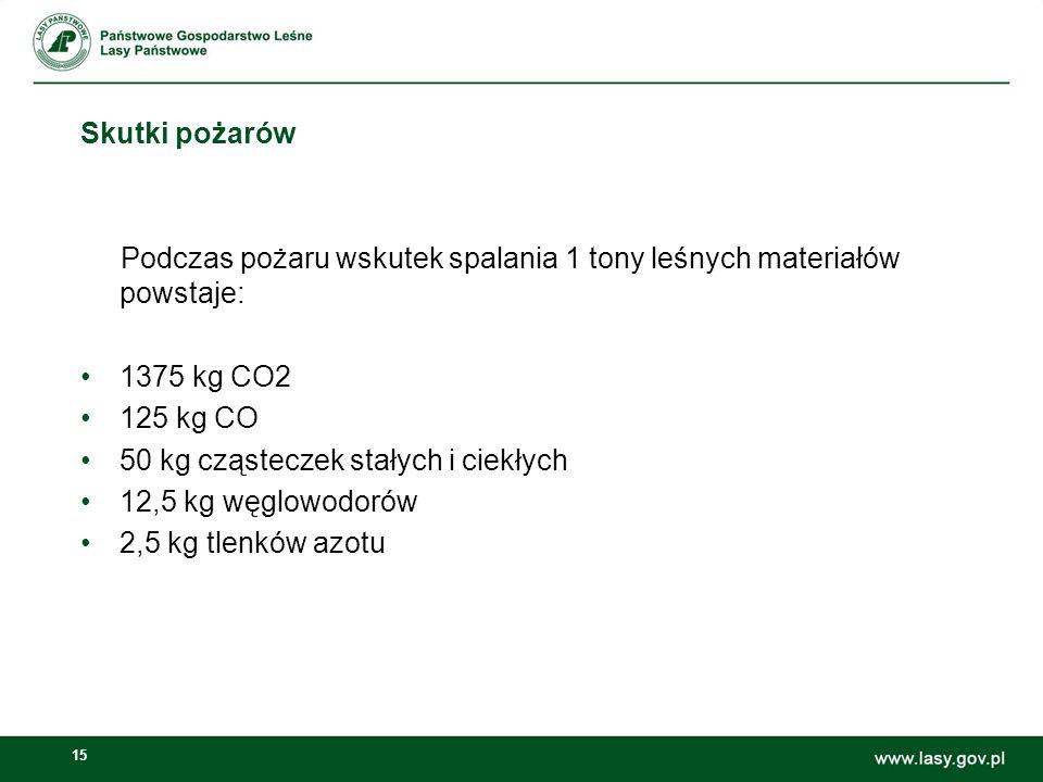 Skutki pożarów Podczas pożaru wskutek spalania 1 tony leśnych materiałów powstaje: 1375 kg CO2. 125 kg CO.