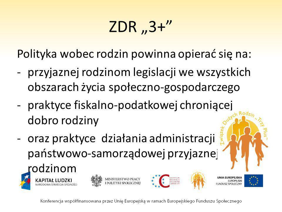 """ZDR """"3+ Polityka wobec rodzin powinna opierać się na:"""