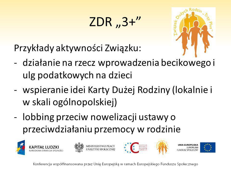 """ZDR """"3+ Przykłady aktywności Związku:"""