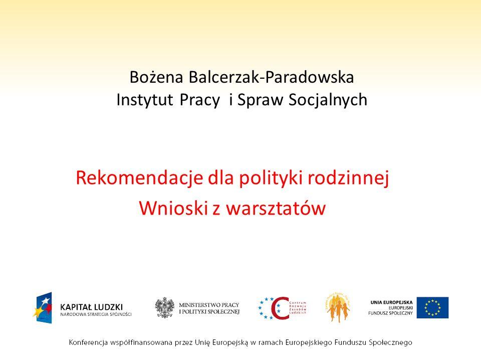 Bożena Balcerzak-Paradowska Instytut Pracy i Spraw Socjalnych