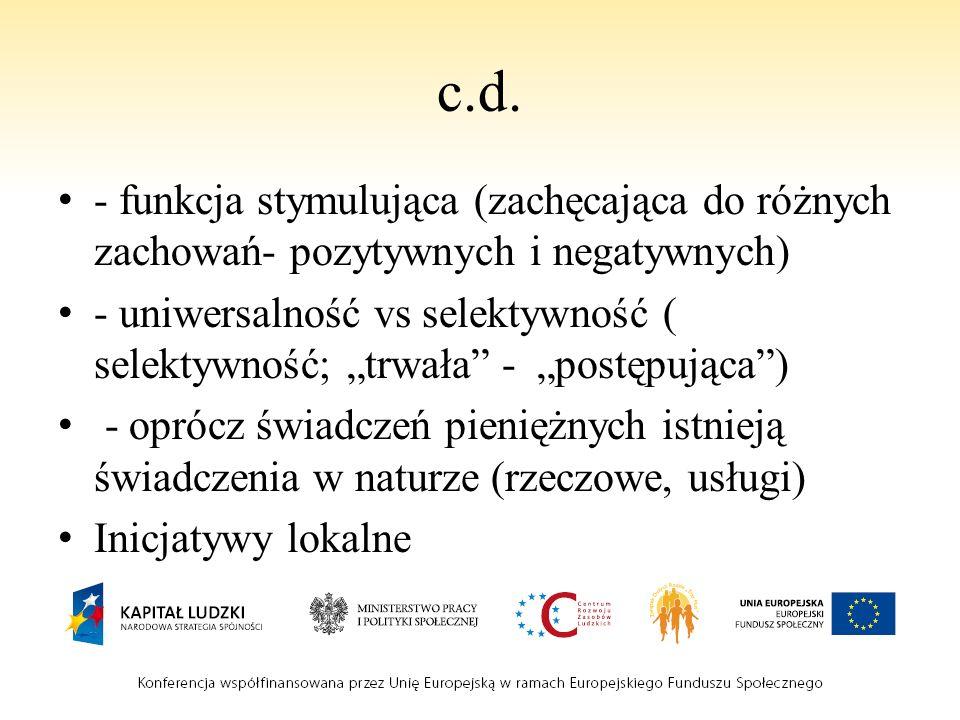 c.d. - funkcja stymulująca (zachęcająca do różnych zachowań- pozytywnych i negatywnych)