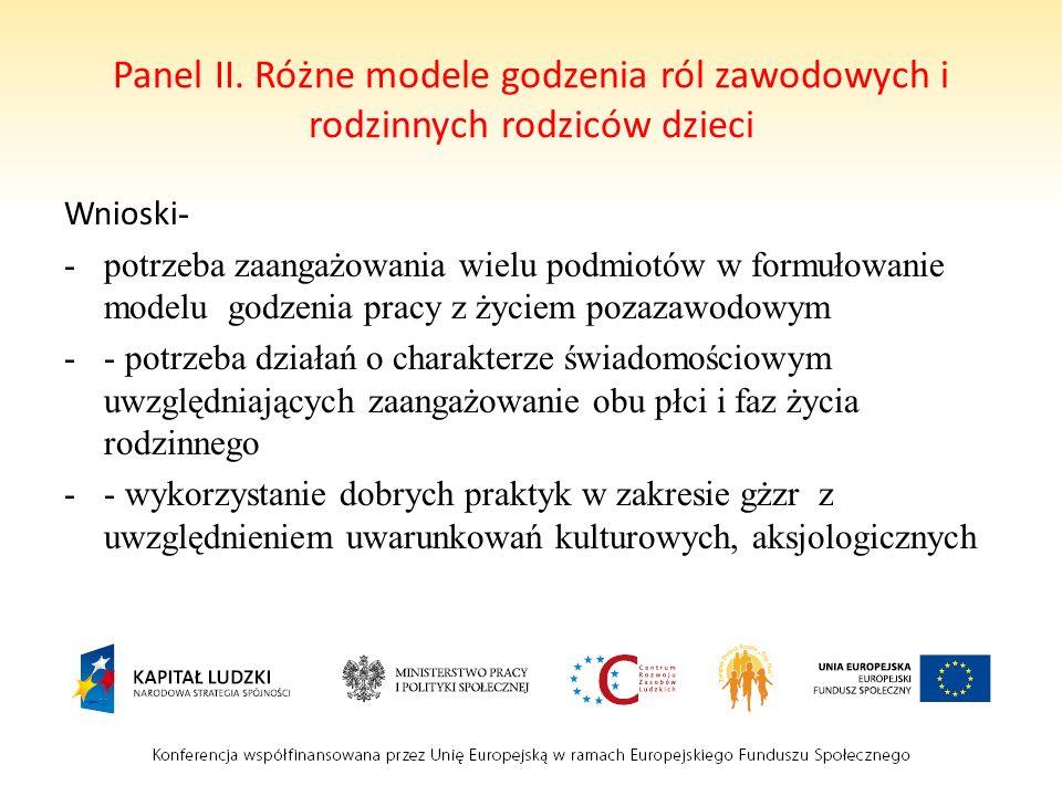 Panel II. Różne modele godzenia ról zawodowych i rodzinnych rodziców dzieci