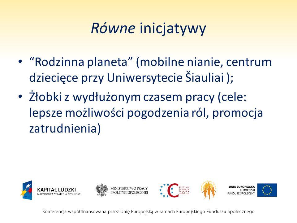 Równe inicjatywy Rodzinna planeta (mobilne nianie, centrum dziecięce przy Uniwersytecie Šiauliai );