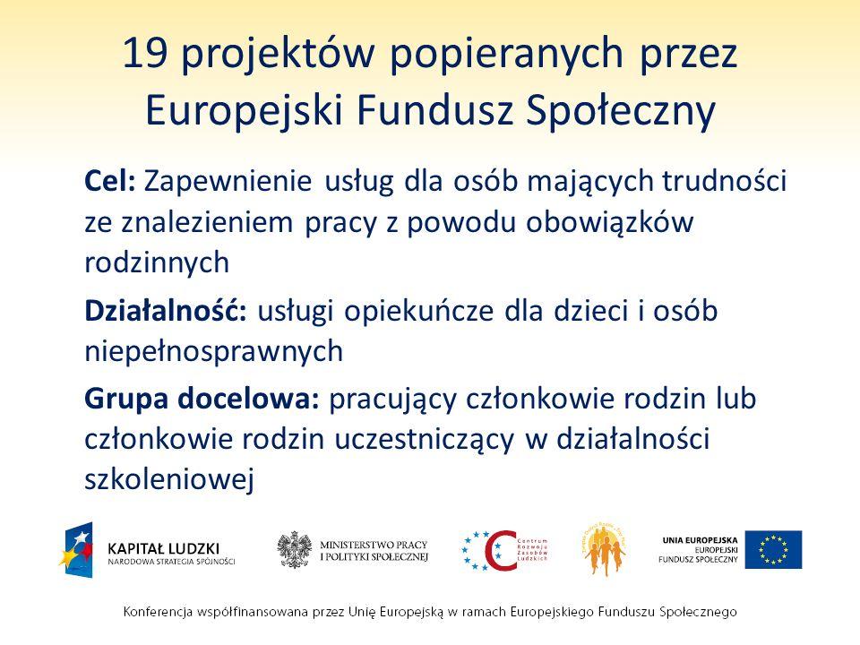19 projektów popieranych przez Europejski Fundusz Społeczny