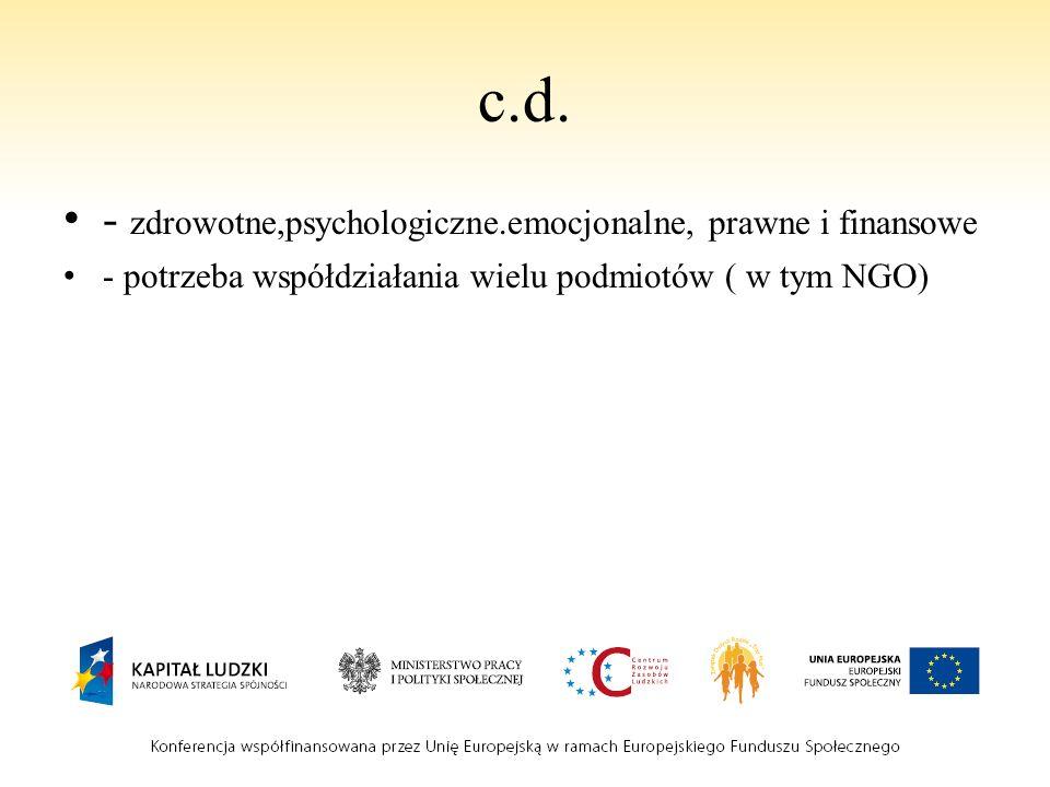 c.d. - zdrowotne,psychologiczne.emocjonalne, prawne i finansowe