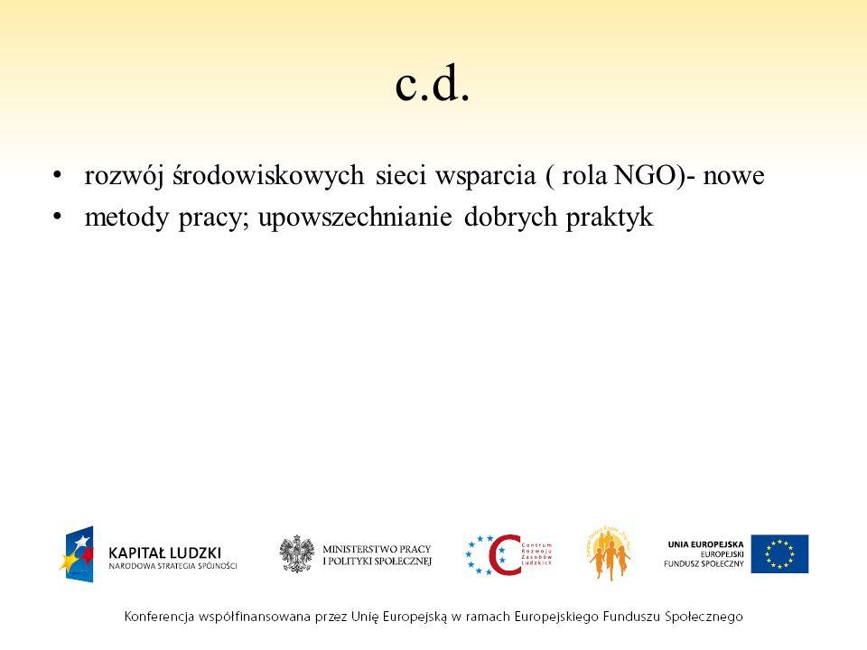 c.d. rozwój środowiskowych sieci wsparcia ( rola NGO)- nowe