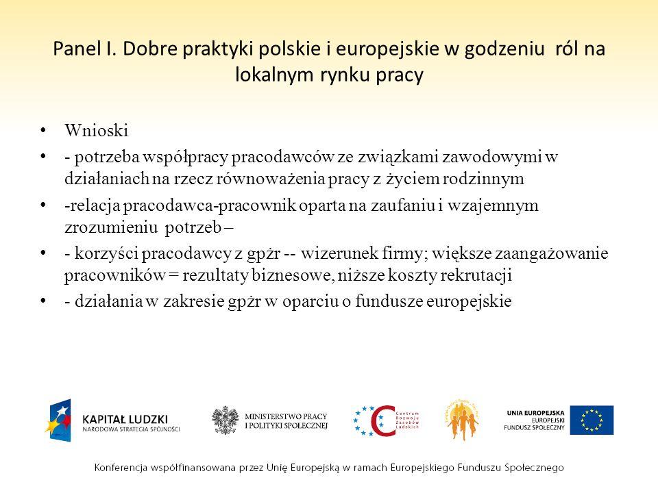 Panel I. Dobre praktyki polskie i europejskie w godzeniu ról na lokalnym rynku pracy