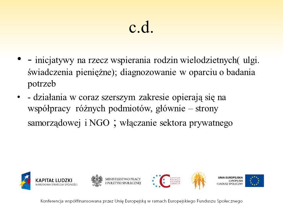 c.d. - inicjatywy na rzecz wspierania rodzin wielodzietnych( ulgi. świadczenia pieniężne); diagnozowanie w oparciu o badania potrzeb.