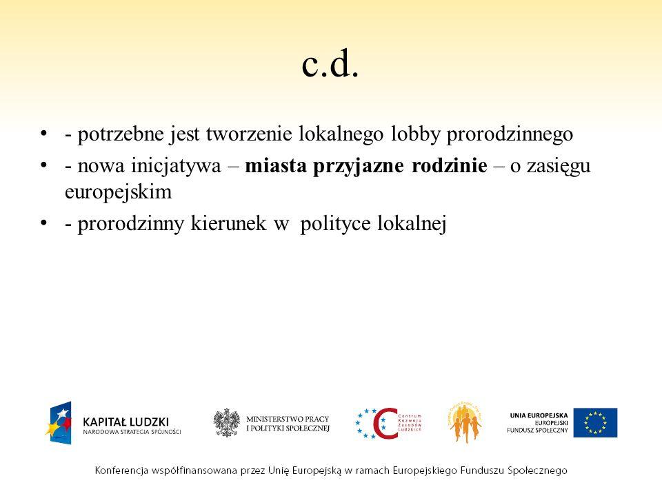 c.d. - potrzebne jest tworzenie lokalnego lobby prorodzinnego