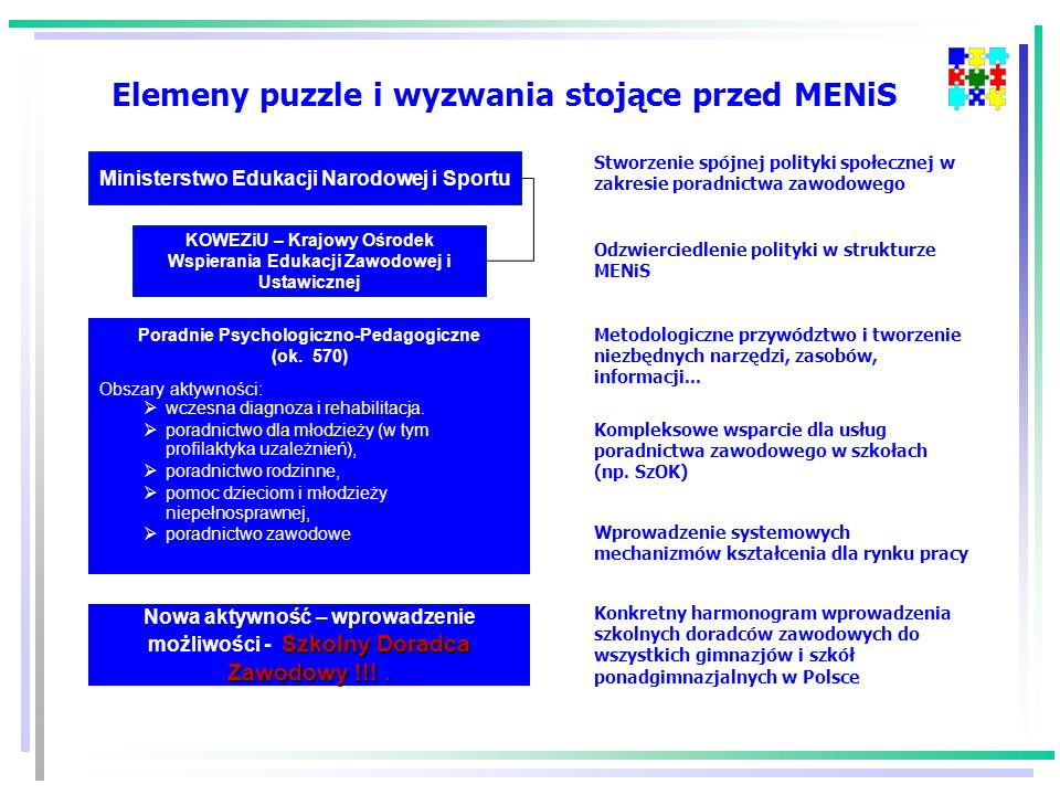Elemeny puzzle i wyzwania stojące przed MENiS