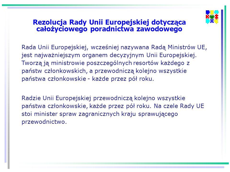 Rezolucja Rady Unii Europejskiej dotycząca całożyciowego poradnictwa zawodowego