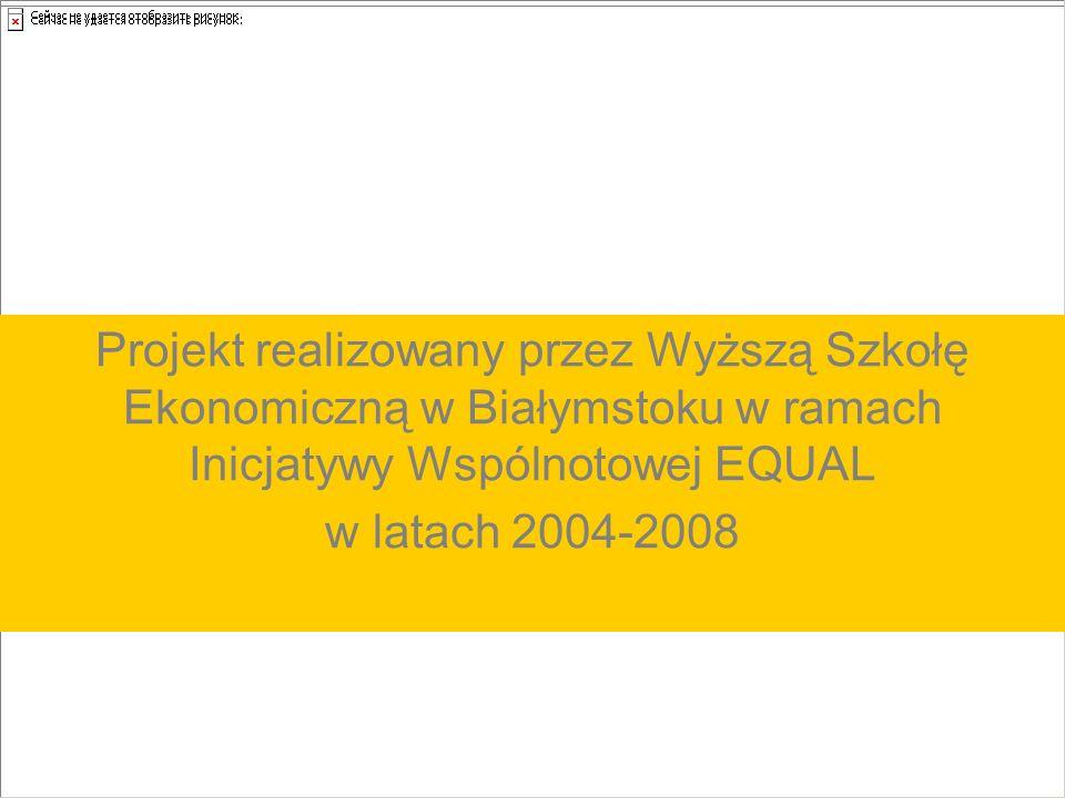 Projekt realizowany przez Wyższą Szkołę Ekonomiczną w Białymstoku w ramach Inicjatywy Wspólnotowej EQUAL