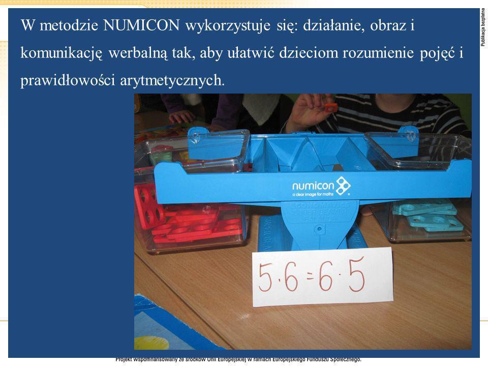 W metodzie NUMICON wykorzystuje się: działanie, obraz i komunikację werbalną tak, aby ułatwić dzieciom rozumienie pojęć i prawidłowości arytmetycznych.