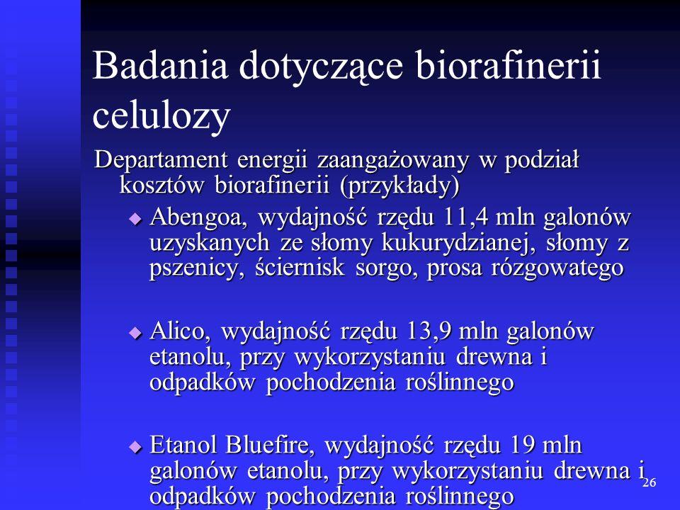 Badania dotyczące biorafinerii celulozy