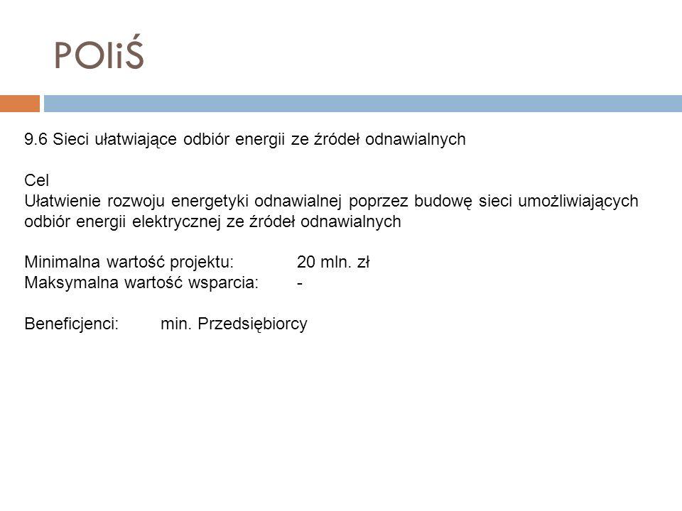 POIiŚ 9.6 Sieci ułatwiające odbiór energii ze źródeł odnawialnych Cel