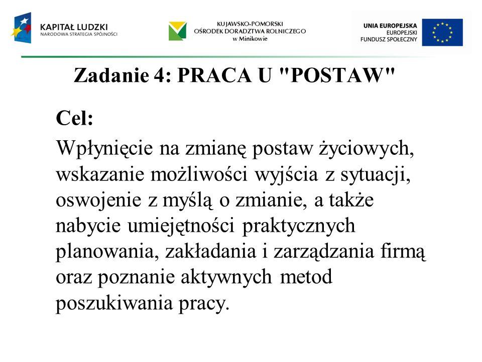 Zadanie 4: PRACA U POSTAW