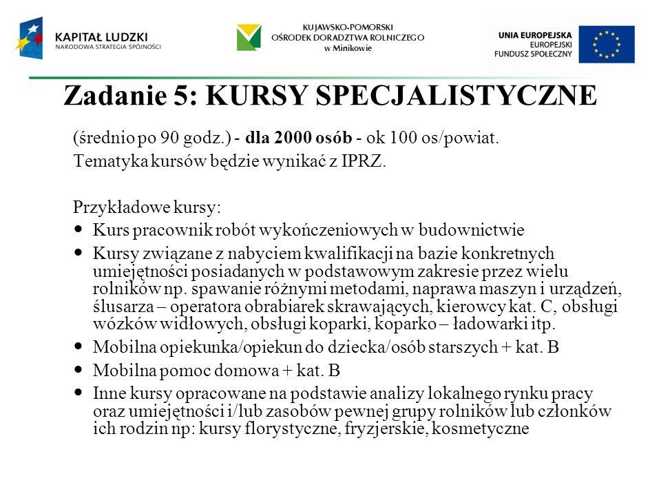 Zadanie 5: KURSY SPECJALISTYCZNE