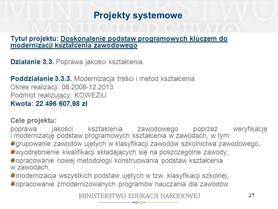 Projekty systemowe Tytuł projektu: Doskonalenie podstaw programowych kluczem do modernizacji kształcenia zawodowego.