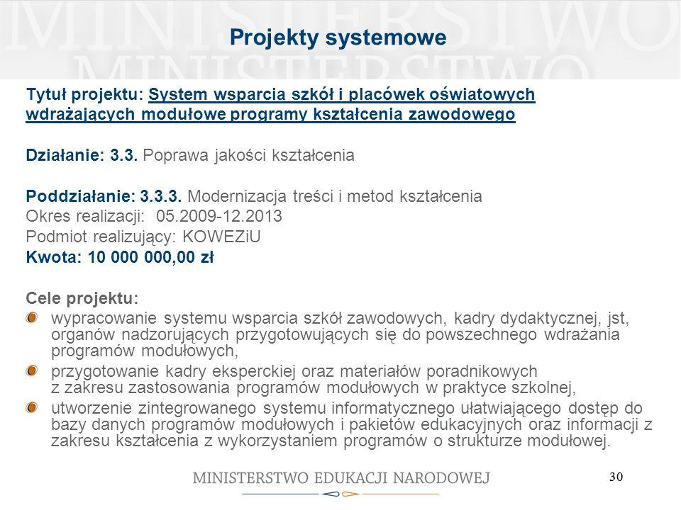 Projekty systemowe Tytuł projektu: System wsparcia szkół i placówek oświatowych. wdrażających modułowe programy kształcenia zawodowego.