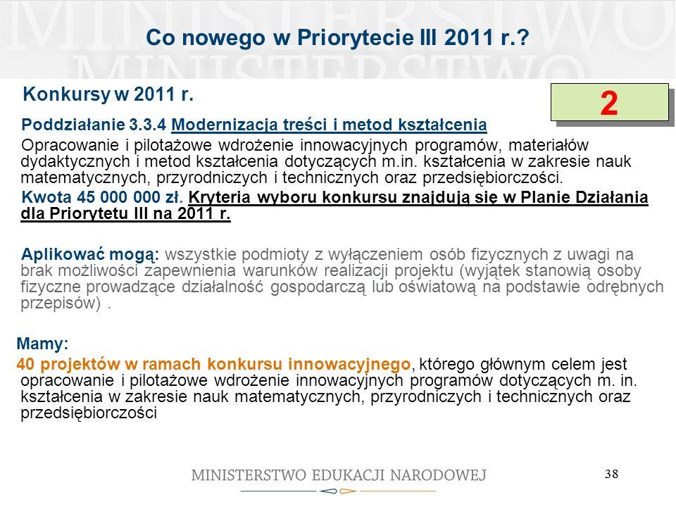 Co nowego w Priorytecie III 2011 r.