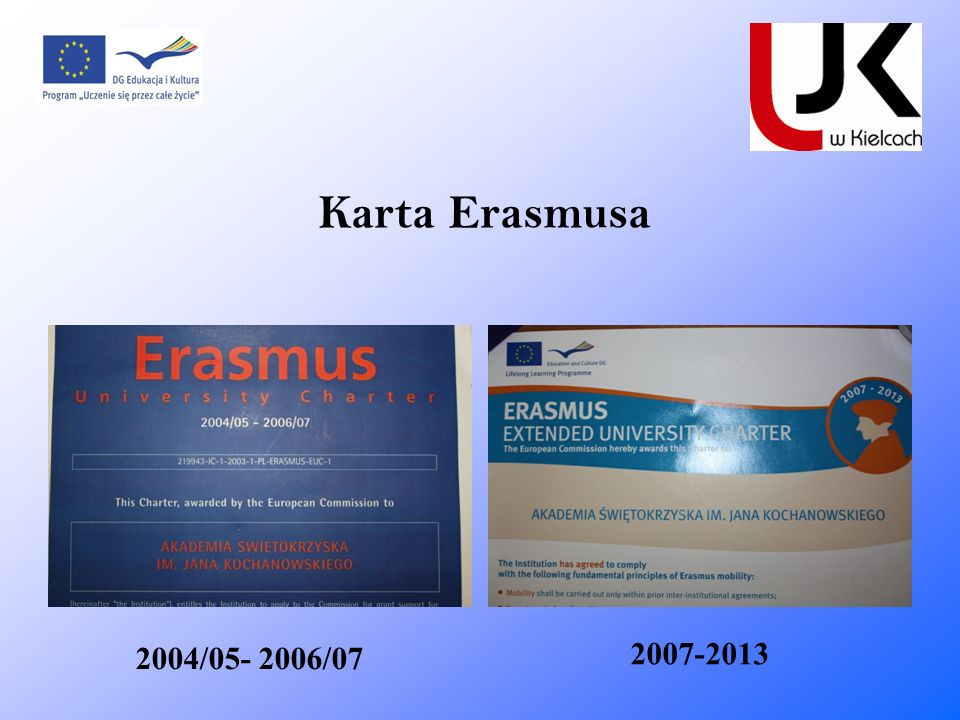 Karta Erasmusa 2007-2013 2004/05- 2006/07