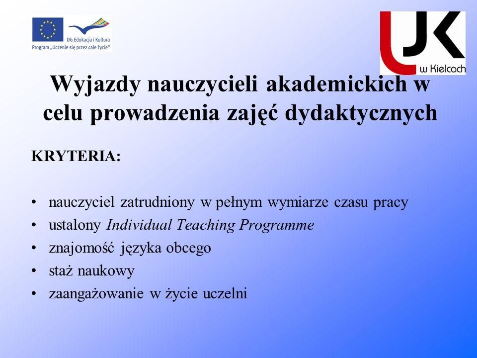 Wyjazdy nauczycieli akademickich w celu prowadzenia zajęć dydaktycznych