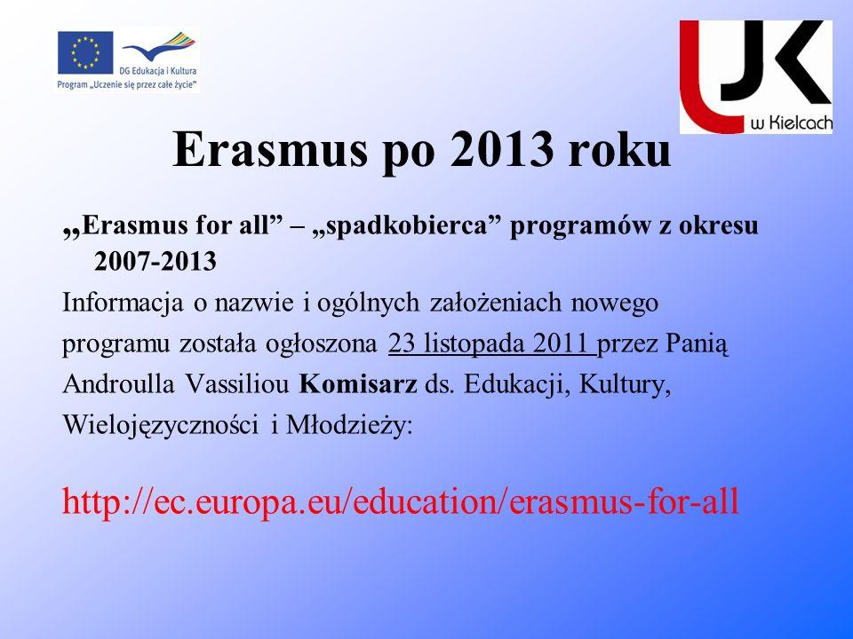 """Erasmus po 2013 roku""""Erasmus for all – """"spadkobierca programów z okresu 2007-2013. Informacja o nazwie i ogólnych założeniach nowego."""