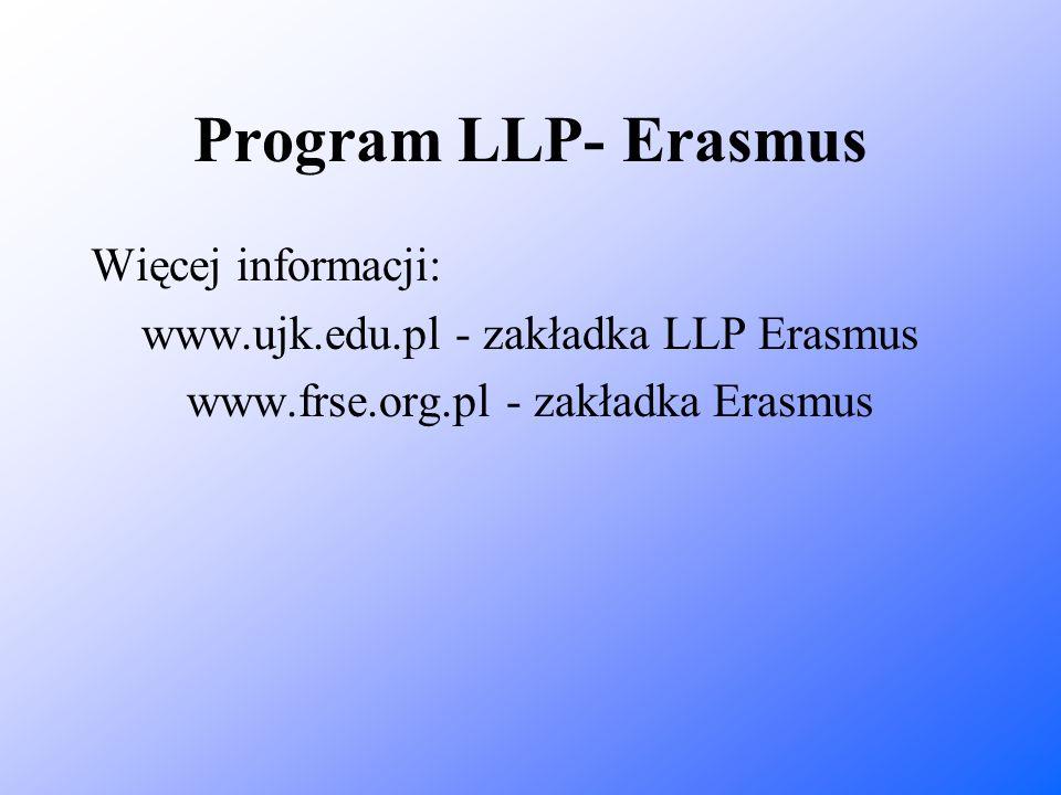 Program LLP- Erasmus Więcej informacji: