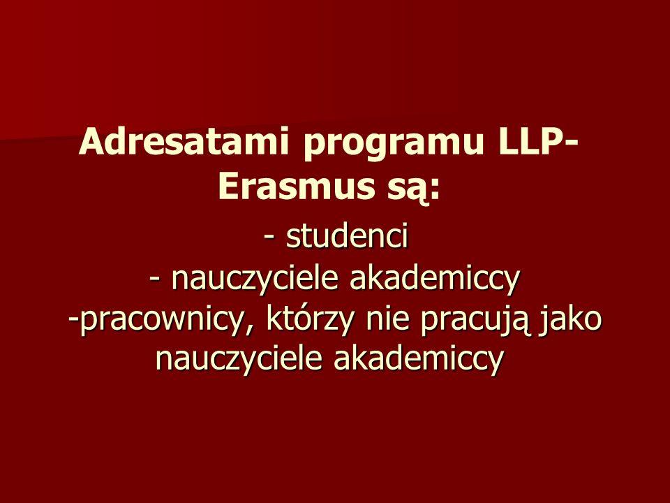 Adresatami programu LLP-Erasmus są: - studenci - nauczyciele akademiccy -pracownicy, którzy nie pracują jako nauczyciele akademiccy